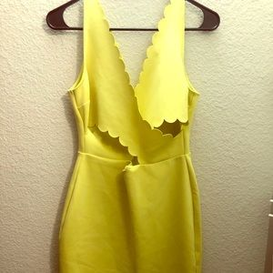 TOPSHOP Lime Front Keyhole Dress